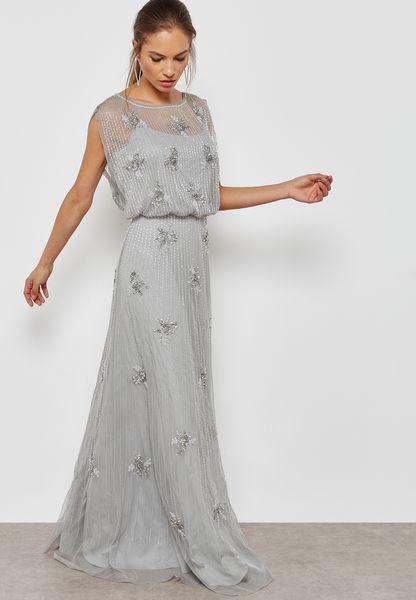 Embellished Sheer Layered Dress