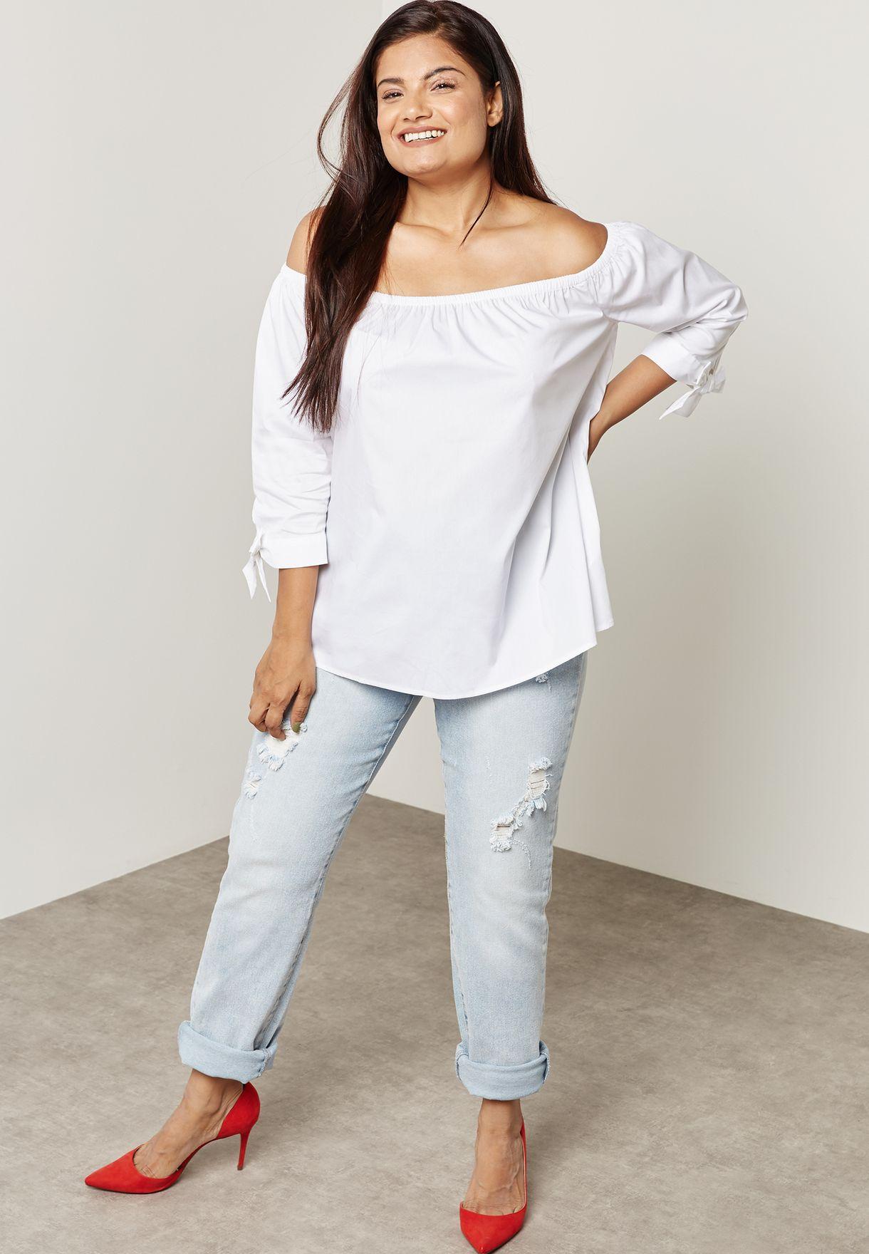 51ceda9e5c4e9 Shop Forever 21 Plus white Bardot Top 225683 for Women in UAE ...