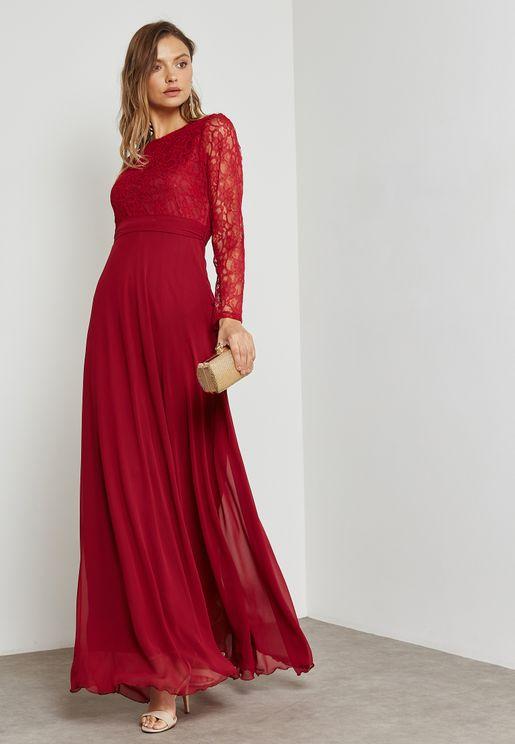 Lace Top Open Back Self Tie Dress