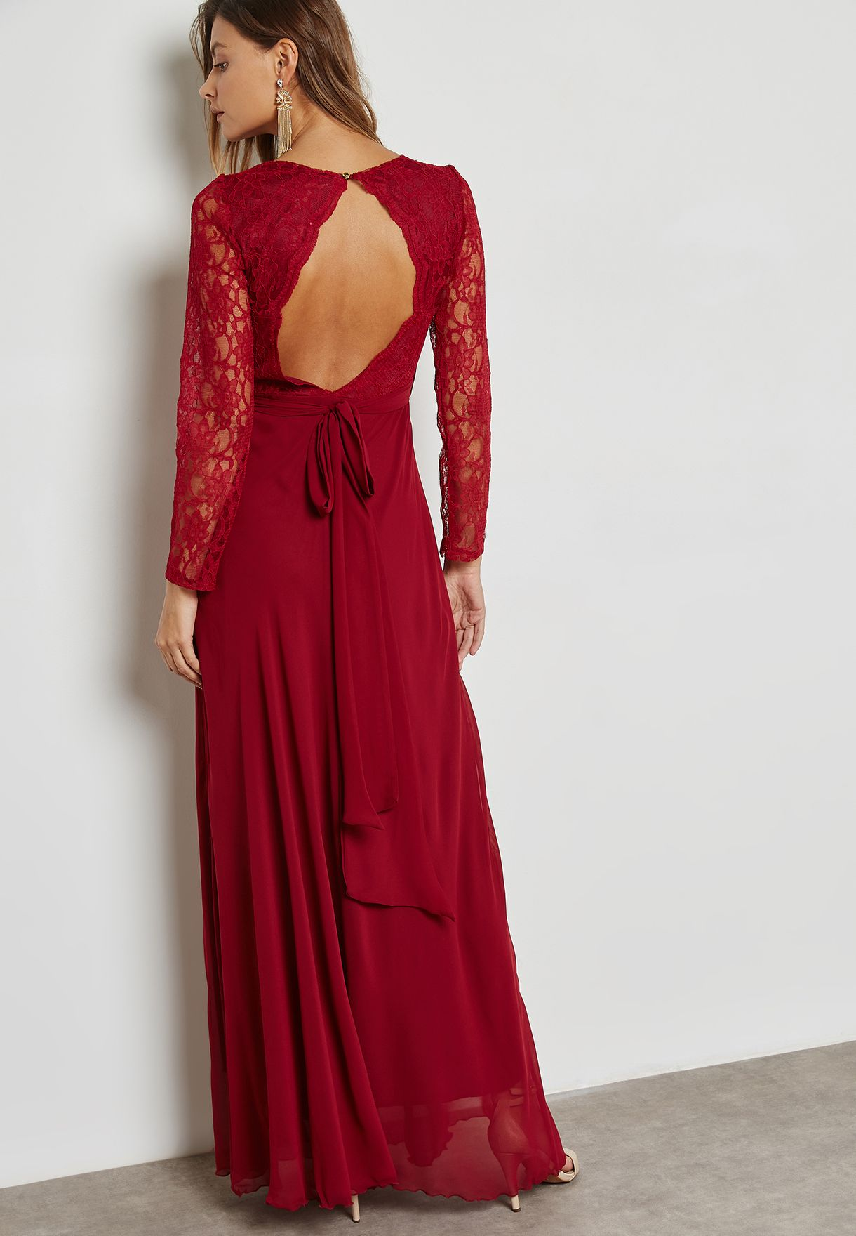 Lace Top Open Back Self Tie Dress