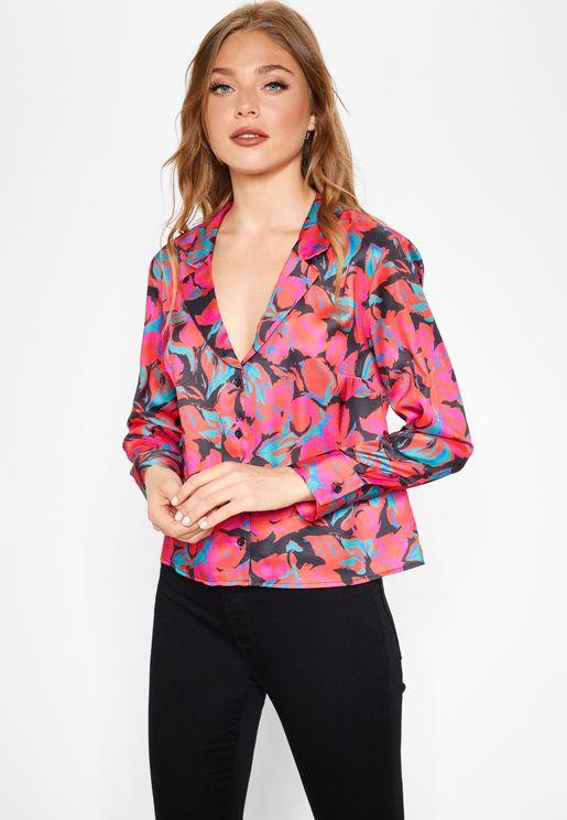 Floral Print Pyjama Style Shirt