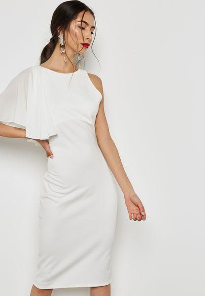 One Shoulder Frill Bodycon Dress