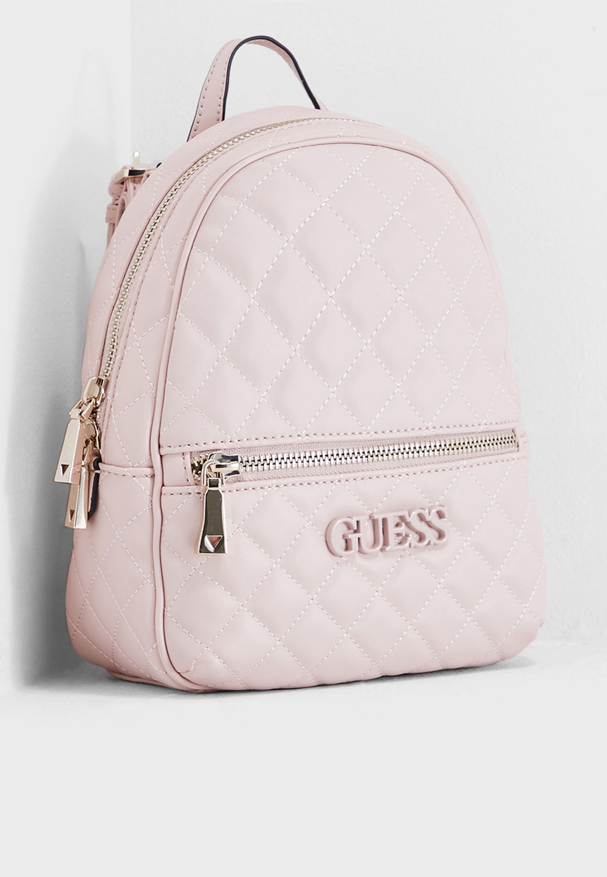 8b797a674 Shop Guess pink Elliana Front Zip Backpack VG730232BLS for Women in ...