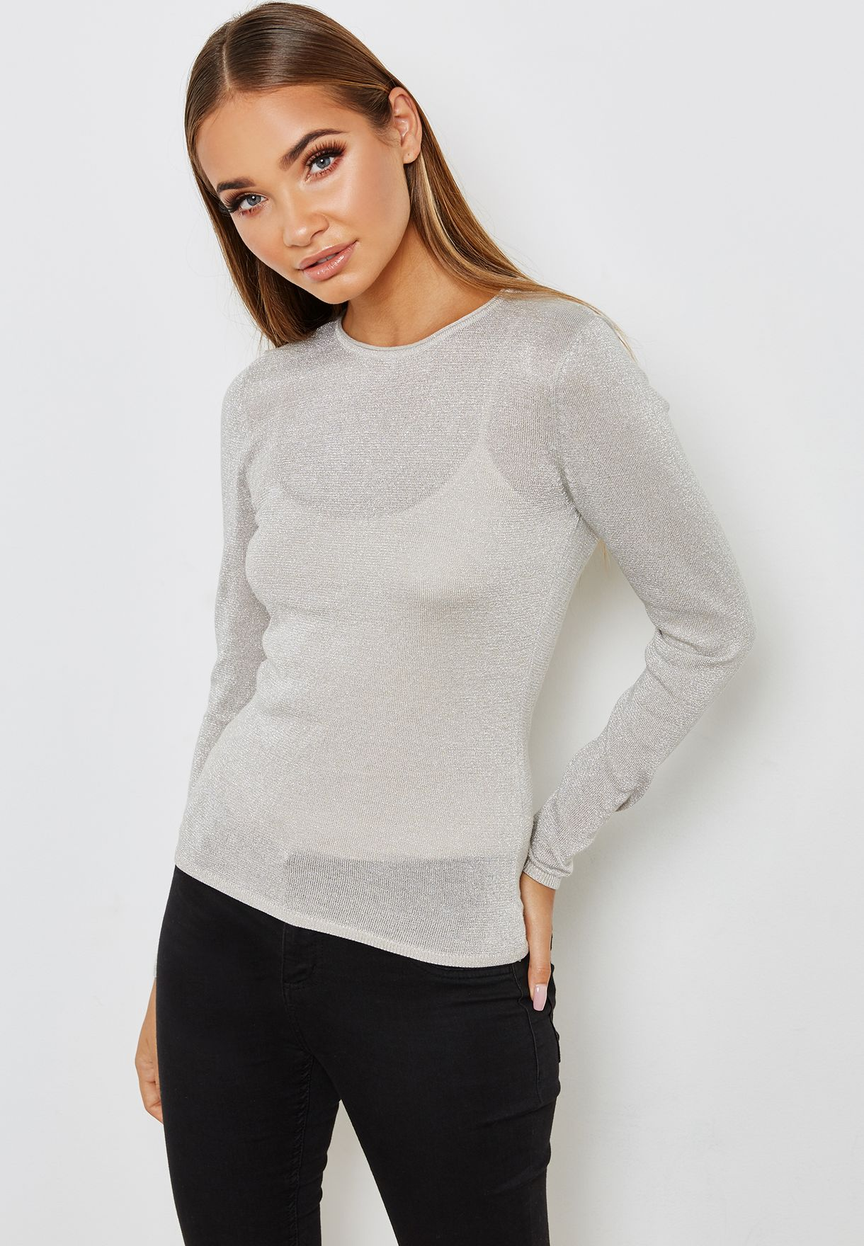 65ede19fed9 Shop Only grey Crew Neck Glitter Sweater 15155925 for Women in UAE ...