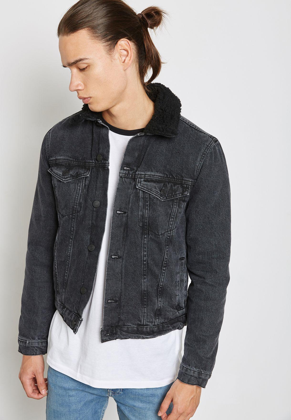 d5d2bd2d4 Shop New Look black Borg Denim Jacket 527758201 for Men in Kuwait ...