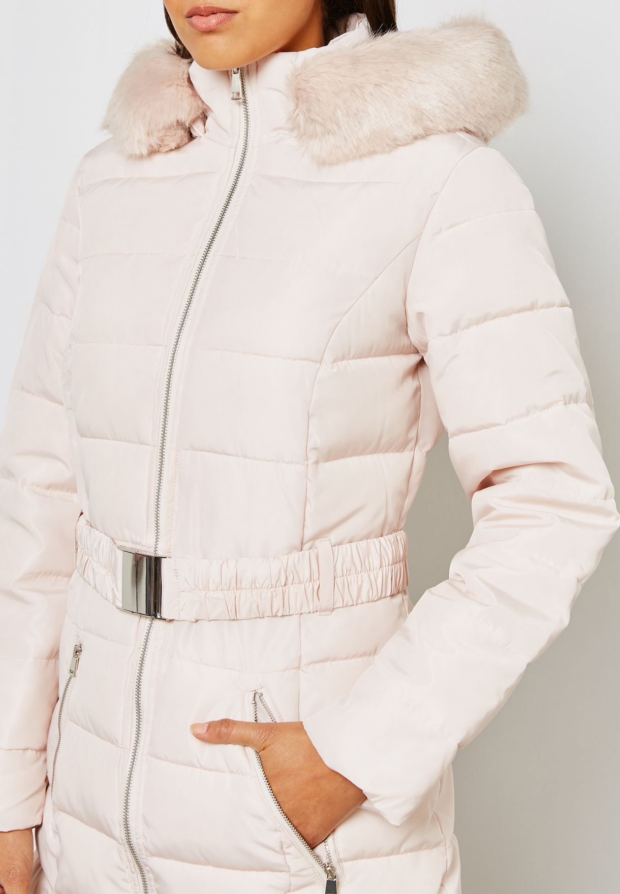 Faux Fur Hooded Quilted Jacket