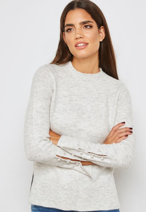 Sleeve Pearl Detail Sweater