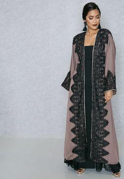 Lace Applique Trim Abaya