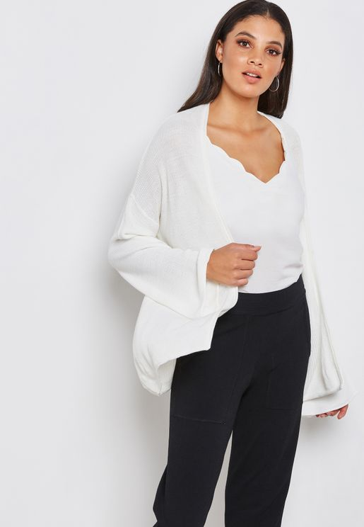 Loose Fit Flare Sleeve Cardigan