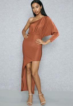 One Shoulder Asymmetric Bodycon Dress