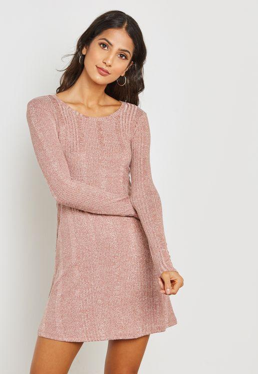 Marl Textured Swing Dress