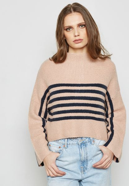Striped Flared Sleeve Sweater
