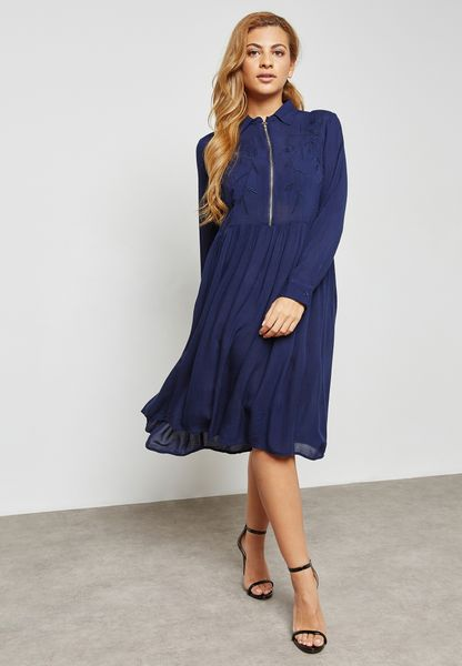 Embroidered Top Zip Front Dress