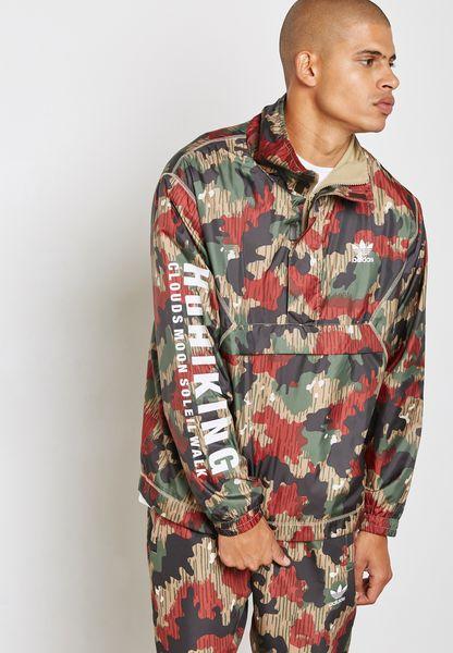 Camo Print Windbreaker Jacket