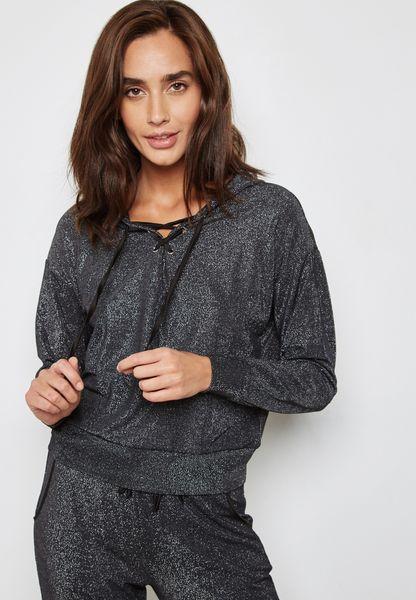 Metallic Lace Up Pyjama Hoodie