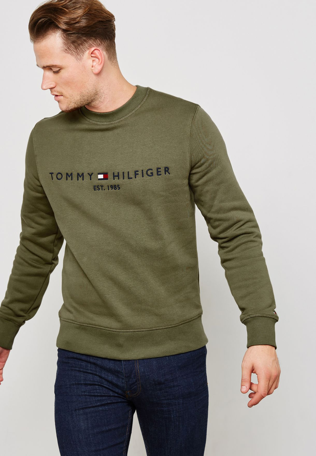 34730a8c Shop Tommy Hilfiger green Logo Sweatshirt MW0MW07948304 for Men in ...