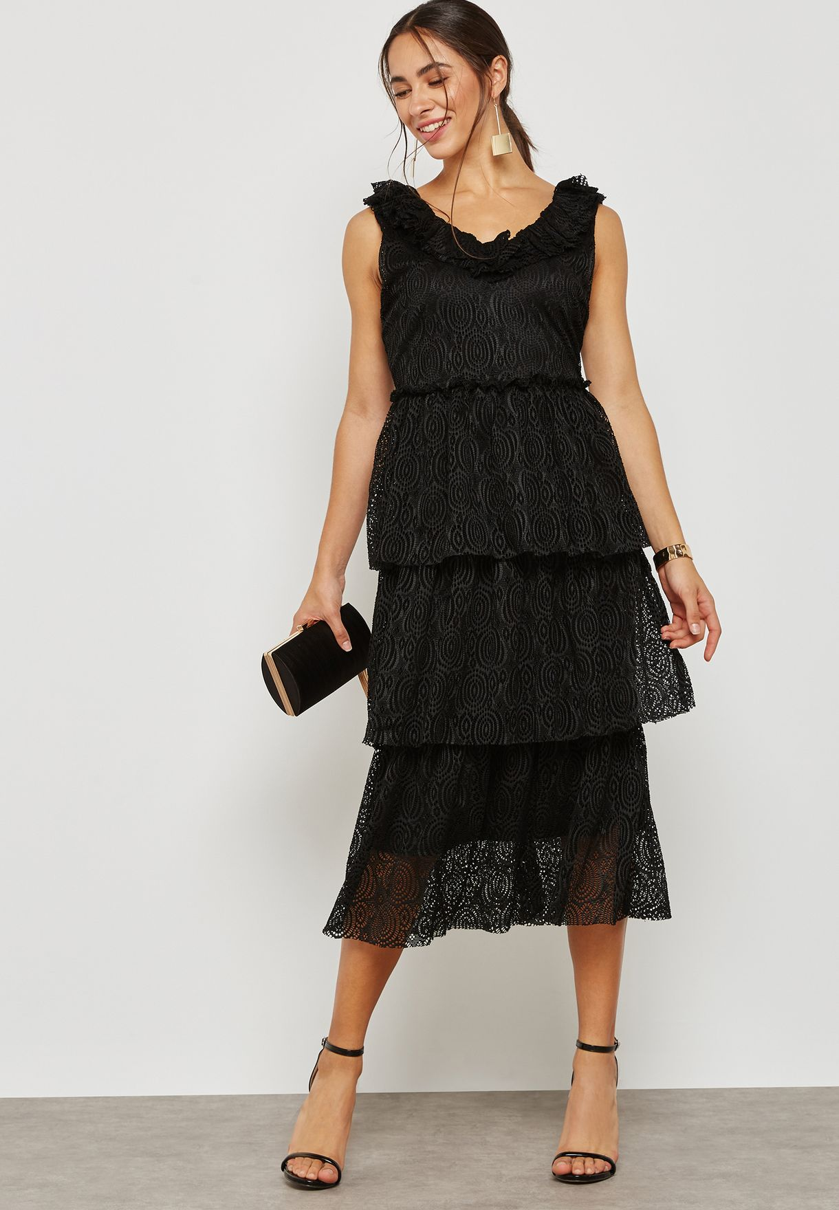 Shop Vero Moda black Lace Detail Layered Dress 10197499 for Women in Qatar  - VE758AT22FLP 4ac7e99b35