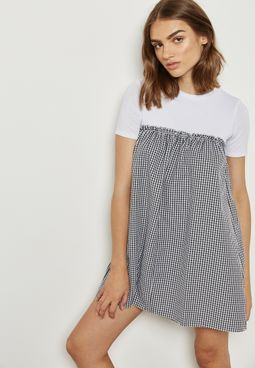 Gingham Detail Dress