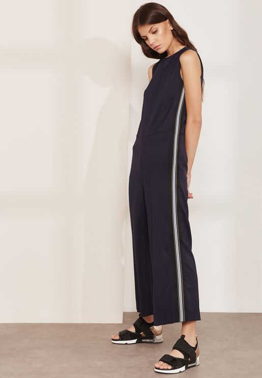 Cardato Side Striped Culottes Jumpsuit