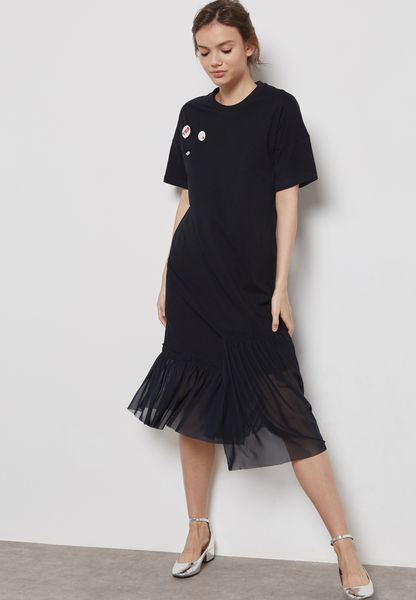 Patched Sheer Detail Dress