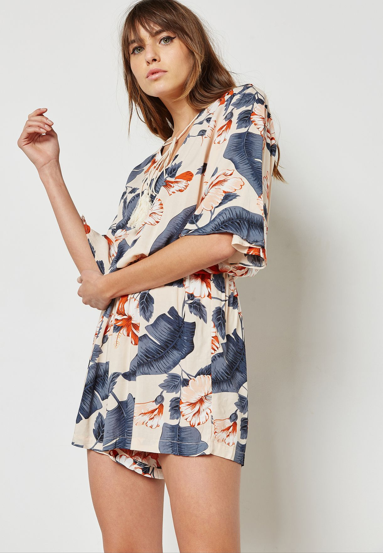 77499a408f Shop Ginger prints Floral Print Tassel Neck Playsuit 1694 for Women in  Qatar - GI121AT22CCF