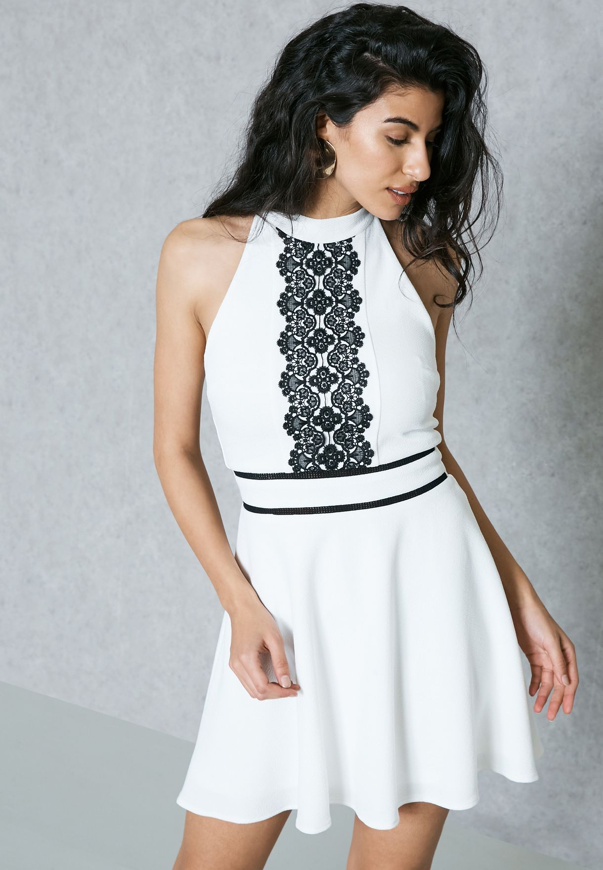 1d818ace13 Shop Miss Selfridge Petite white Lace Detail Skater Dress 34G20TIVR for  Women in Bahrain - MI002AT22NTH