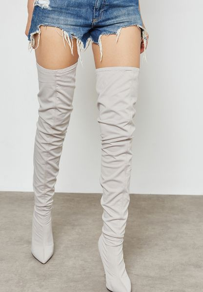 Stripe Point Thigh High Boot
