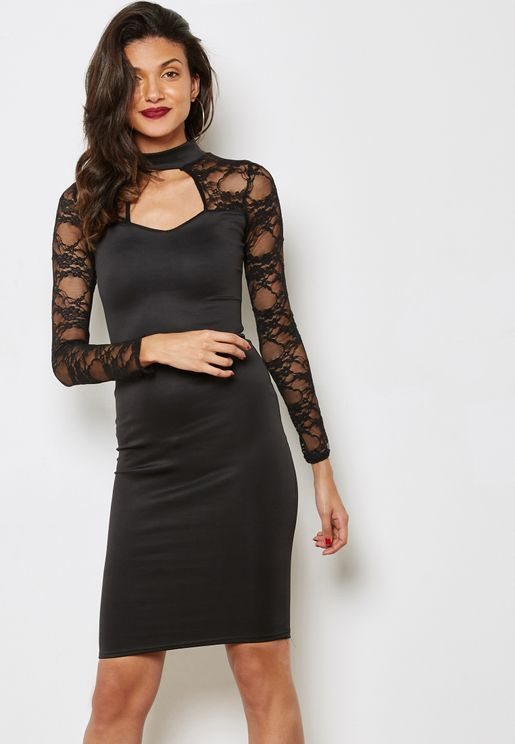 Lace Keyhole Front Detail Dress