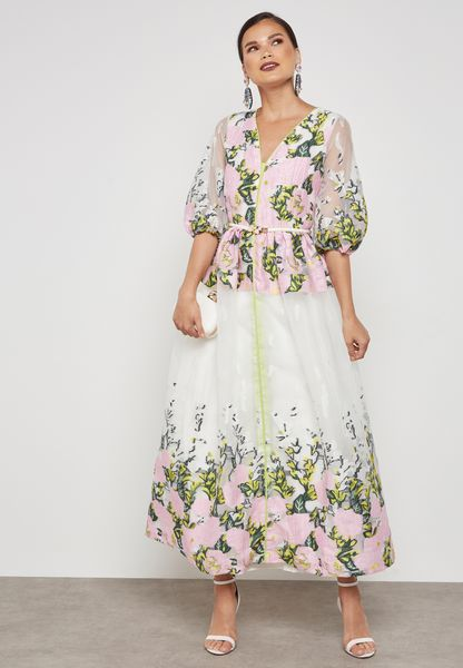 Floral print Puff Sleeves Dress