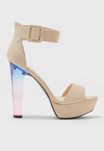 Ankle Strap Rainbow Ombre Heel Sandals