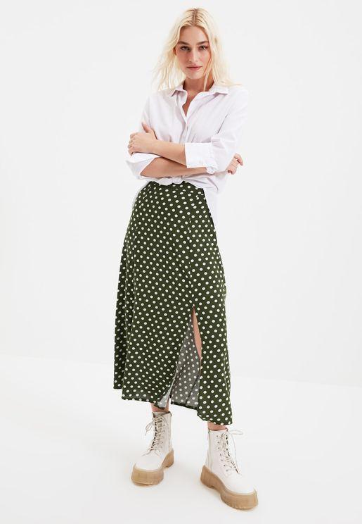 Side Slit Polka Dot Skirt