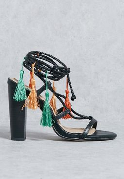 Black Tassel Block Heel Sandals