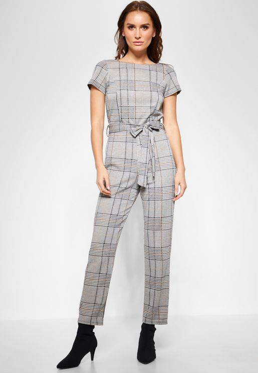 Belted Checked Jumpsuit