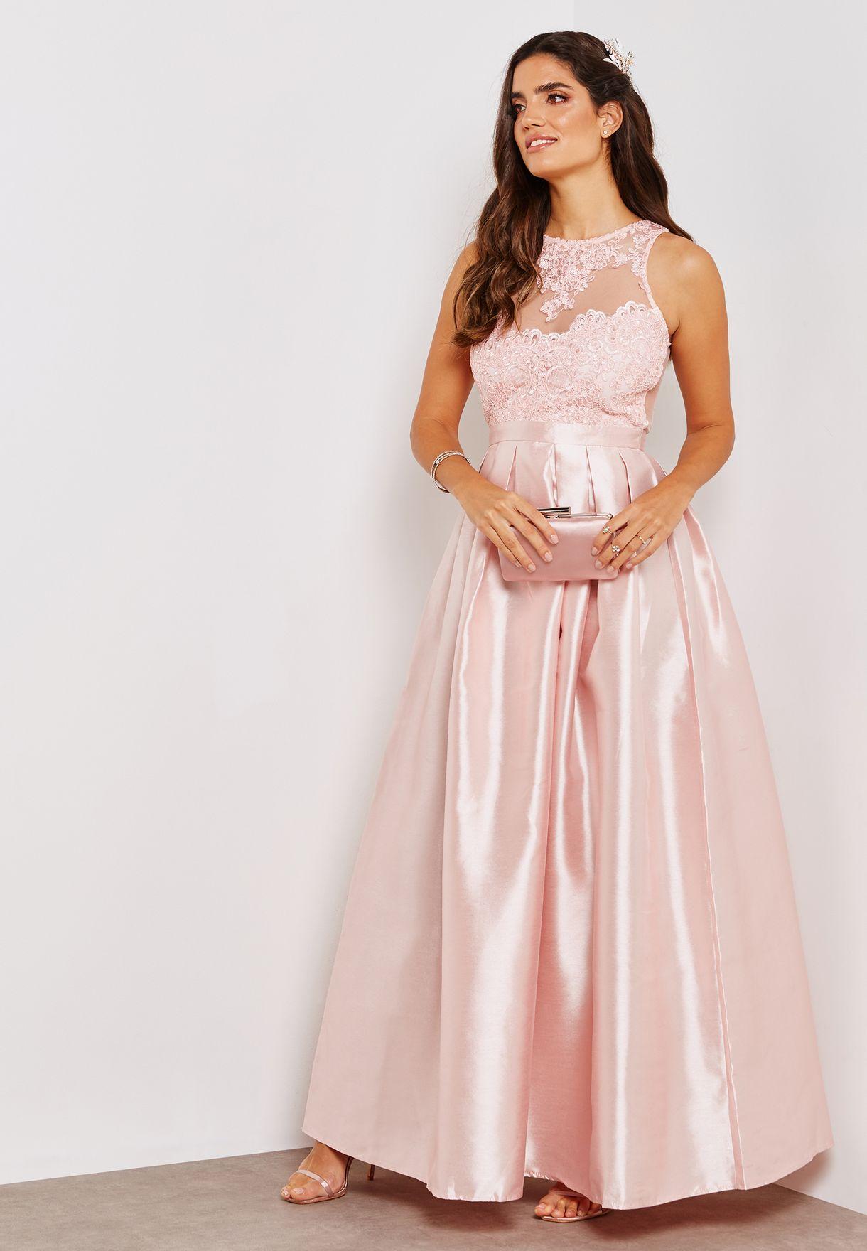 2b374c2ae48 Shop Soieblu pink Lace Illusion Ball Dress M18136 for Women in Saudi ...