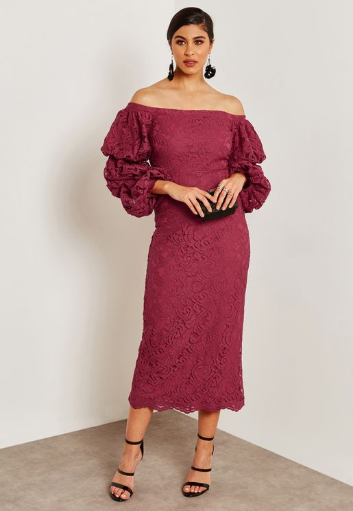 Puffed Sleeve Lace Bardot Dress