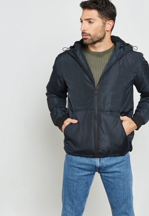 Borg Hood Zip Through Jacket