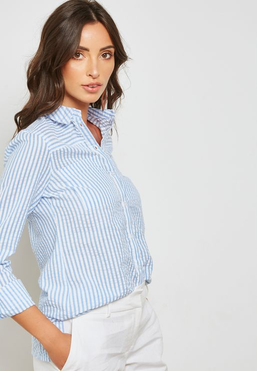 Textured Stripe Roll Sleeve Shirt