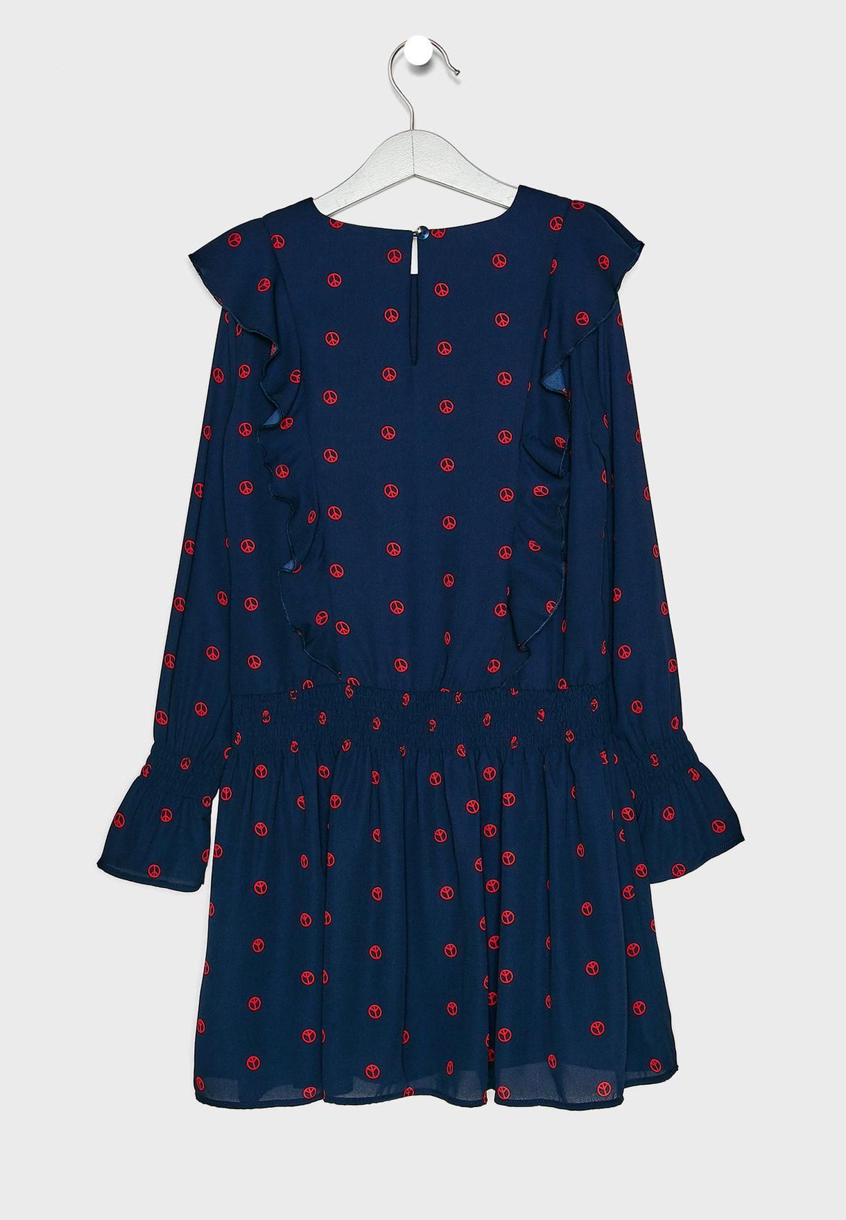 فستان بكشكش مطبع
