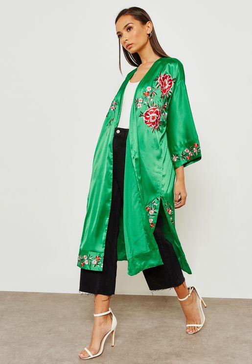 Longline Embroidered Kimono