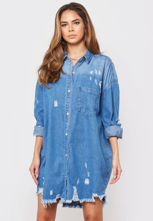 Distressed Denim Long Sleeve Shirt Dress