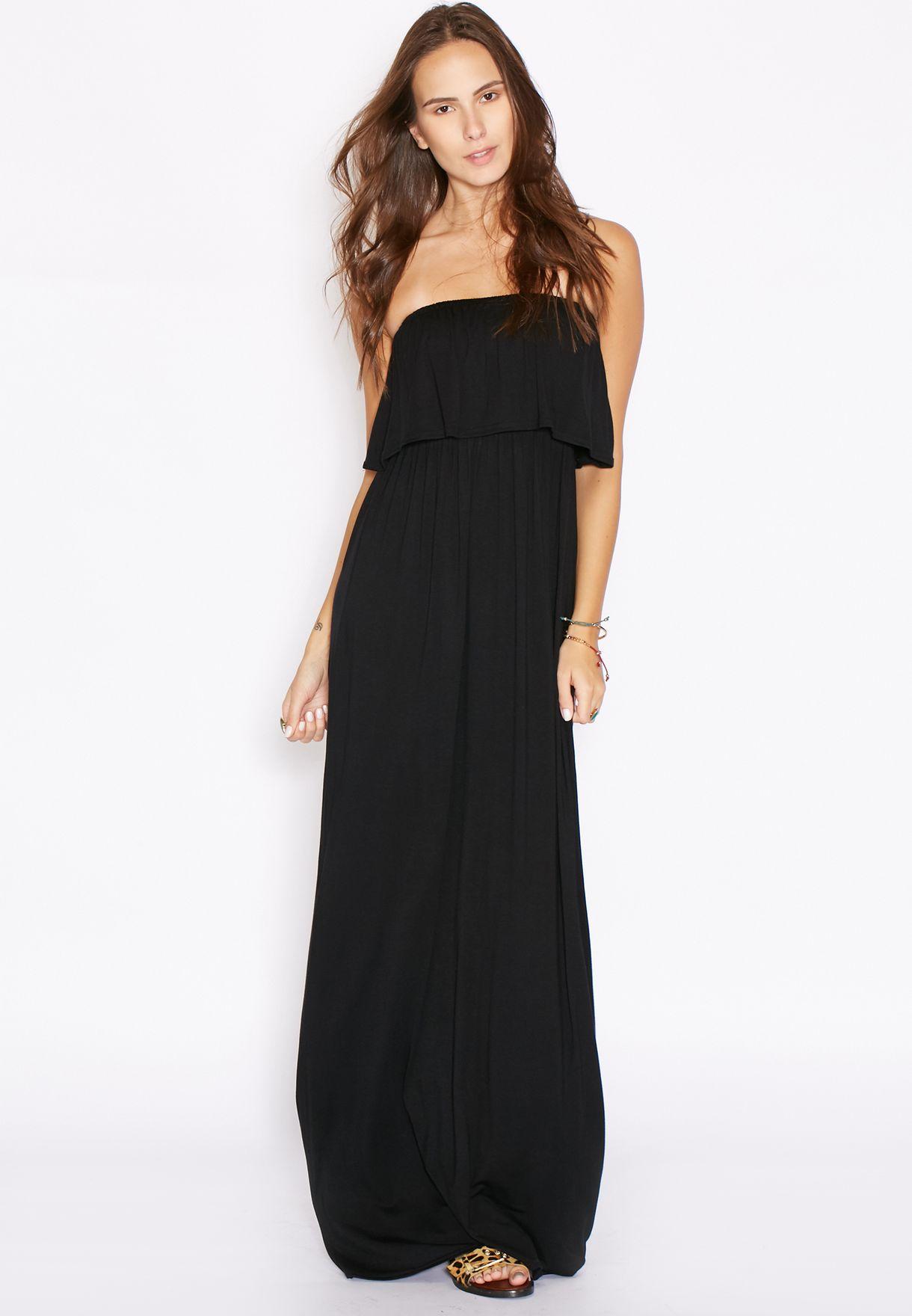 d9f1c7f969f Shop Ginger Basics black Ruffle Bandeau Maxi Dress for Women in ...