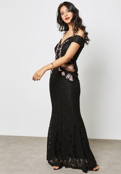 Embroidered Bardot Maxi Dress