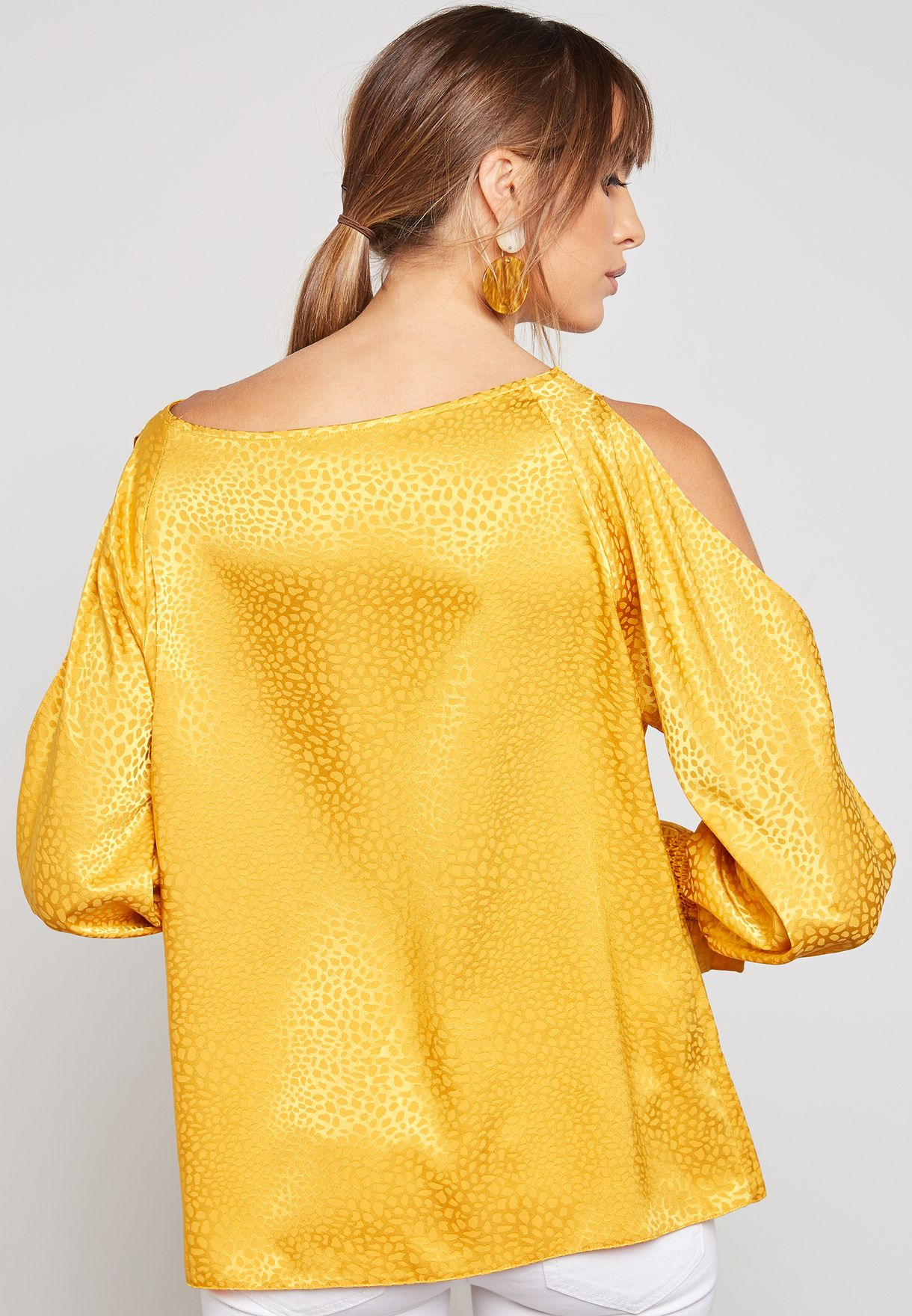 Jacquard Sleeve Cut Out Top