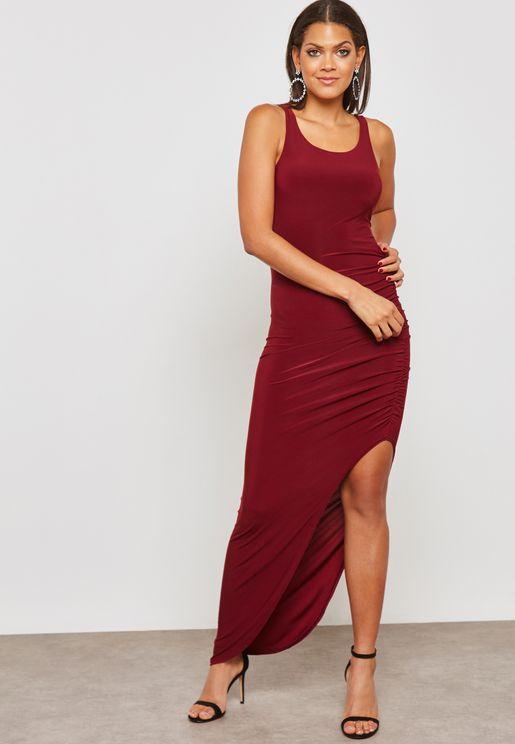 Ruched Side Slit Maxi Dress