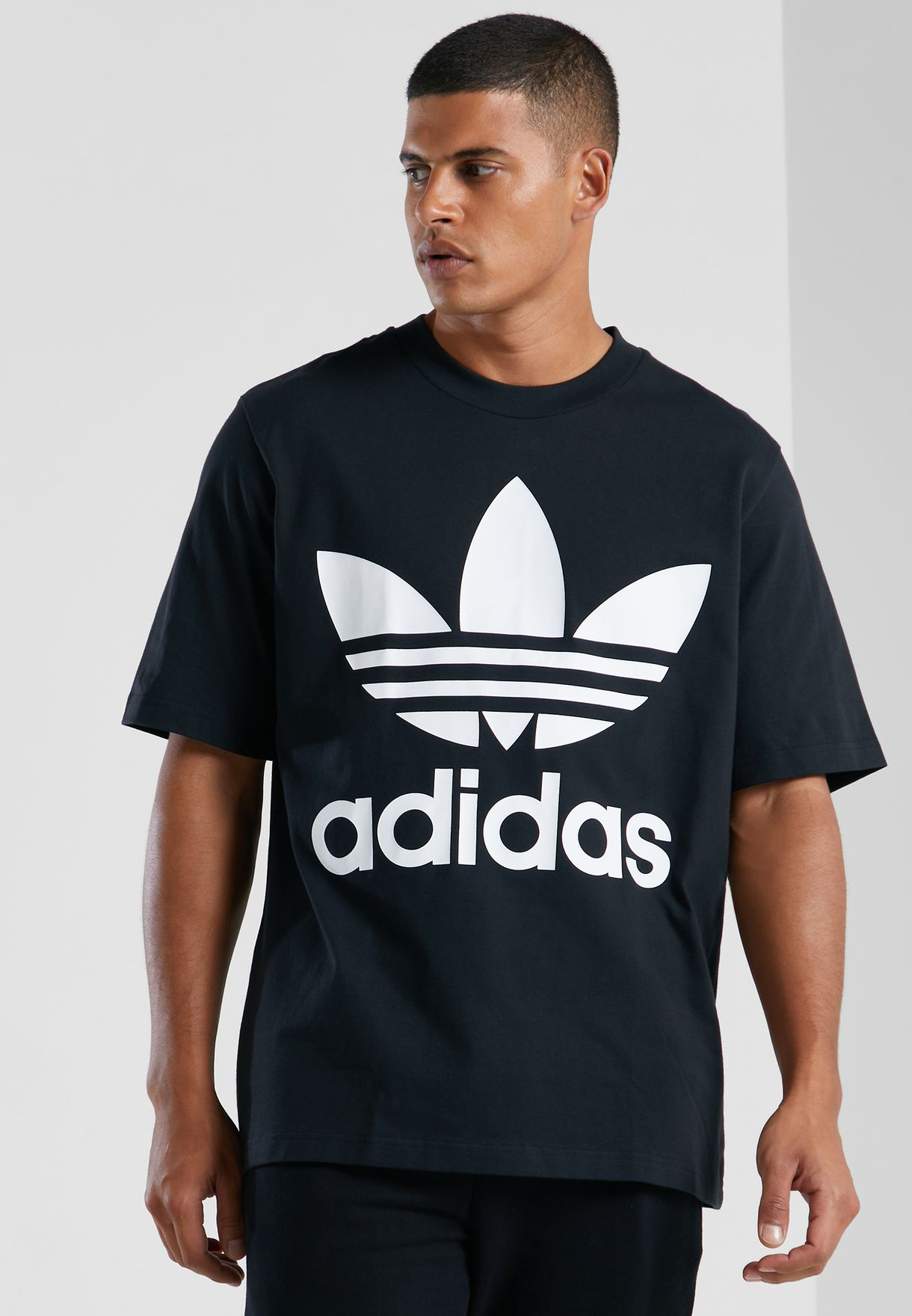 767ca7d955d8f3 Shop adidas Originals black adicolor Trefoil Oversized T-Shirt ...