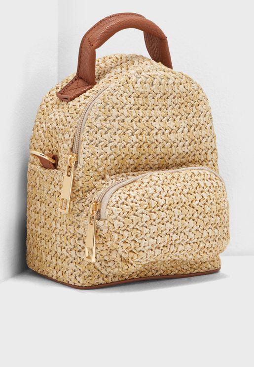 Woven Straw Mini Backpack