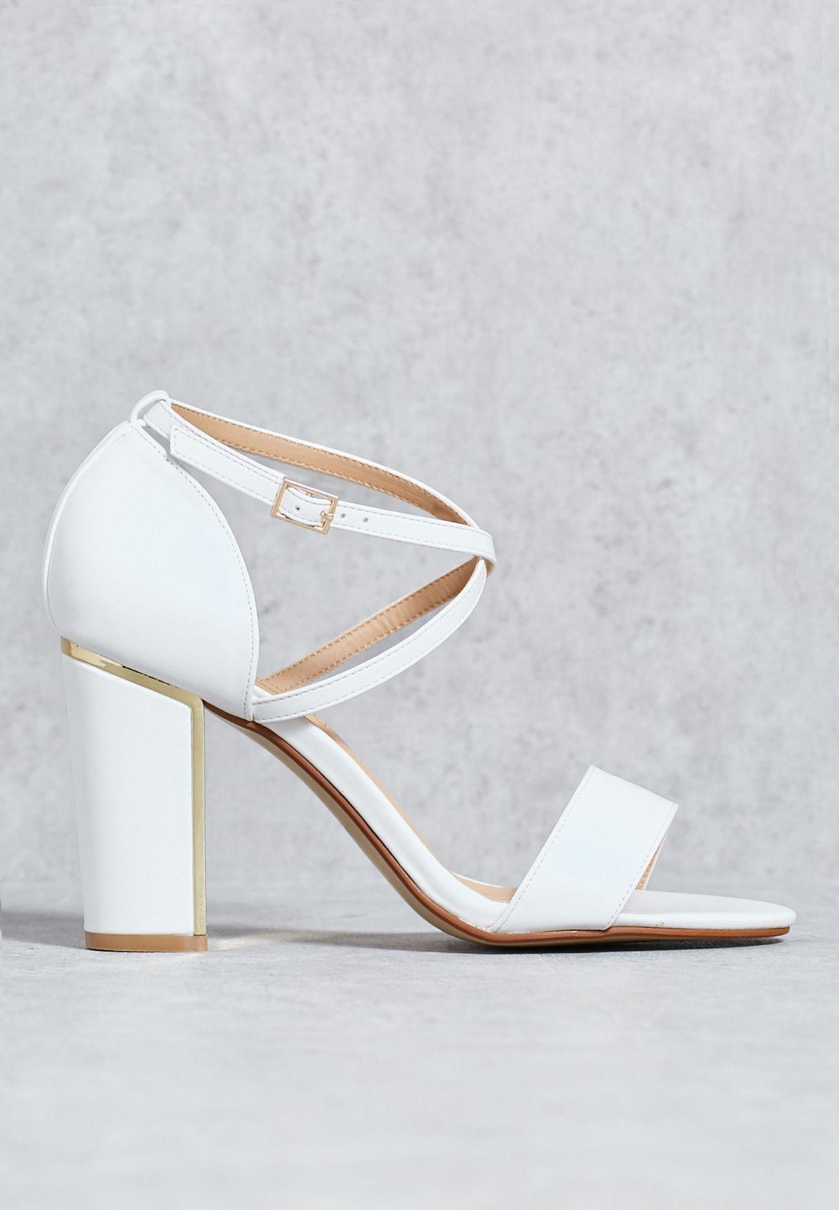 39c766db67 Shop Truffle white Block heel sandal FALLON2/B for Women in Oman ...