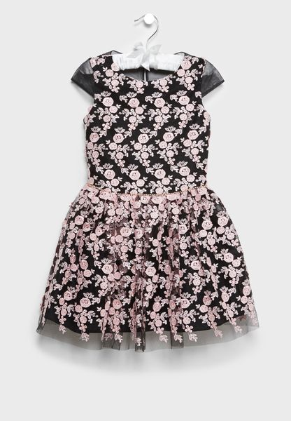 Embroidered Petal Party Dress