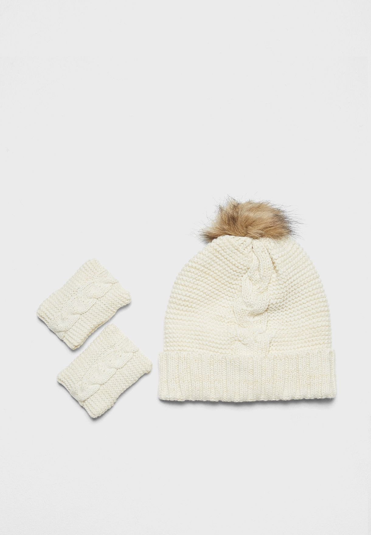Knitted Hat and Hand Warmers