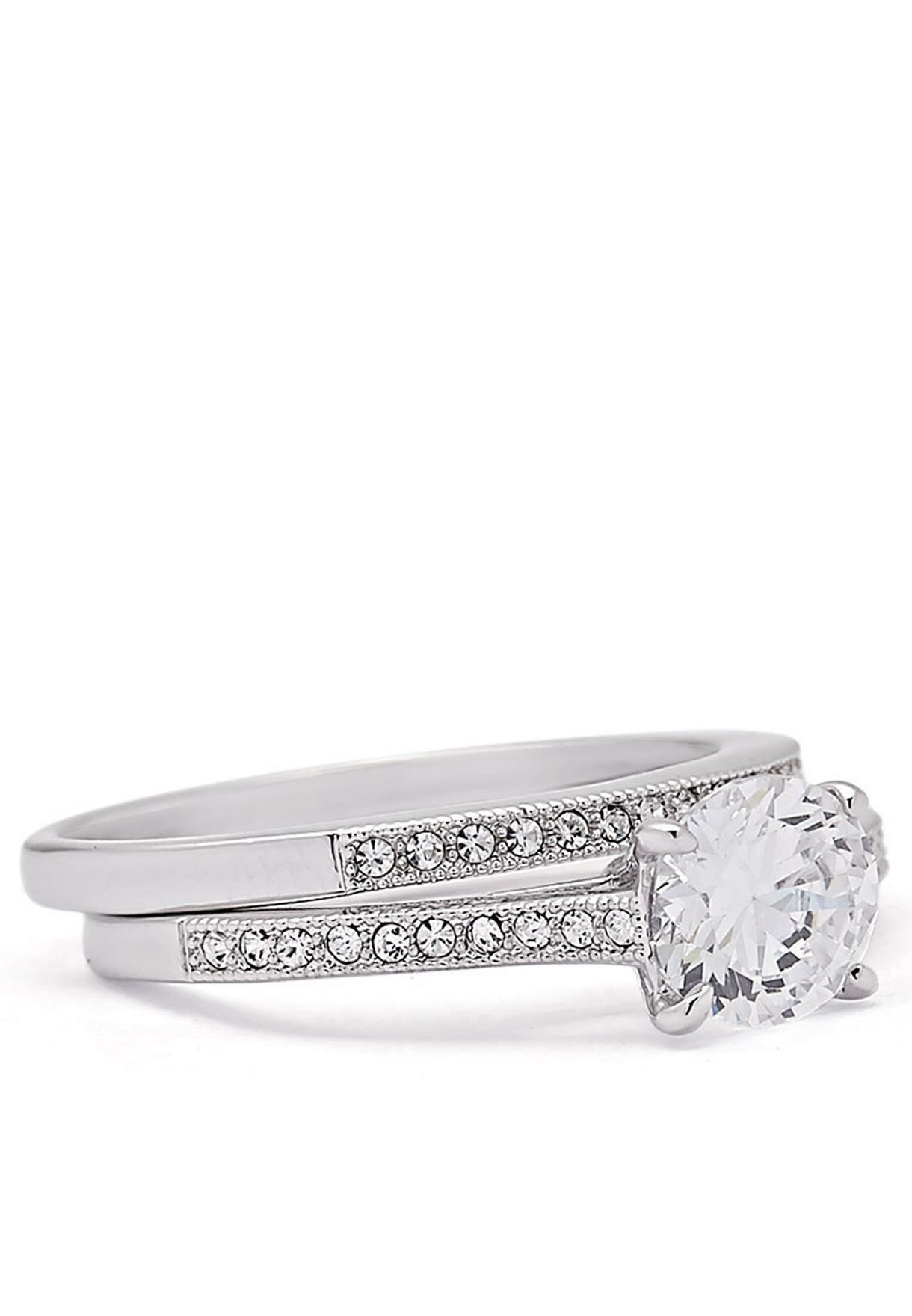 Shop Buckley London Silver Pave Wedding Duo Ring For Women In Qatar